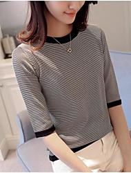 Damen Gestreift Einfach Alltag T-shirt,Rundhalsausschnitt ½ Länge Ärmel Polyester