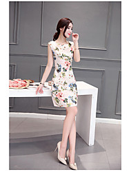 Women's Going out Vintage Sheath Dress,Floral Round Neck Above Knee Short Sleeve Others Summer Low Rise Micro-elastic Thin