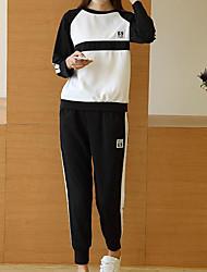 Sweat à capuche Pantalon Costumes Femme Printemps Eté Manches longues Col Arrondi Micro-élastique