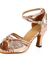 Maßfertigung Damen Latin Kunstleder Sandalen Sneakers Professionell Verschlussschnalle Blockabsatz Bronze 5 - 6,8 cm