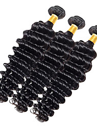 Full Head 300g/3pcs Deep Wave 10-20Inch Dark Black Human Hair Weaves