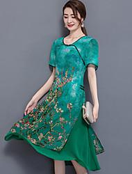 Для женщин На выход Большие размеры Уличный стиль Шинуазери (китайский стиль) Свободный силуэт Платье Цветочный принт,Круглый вырез