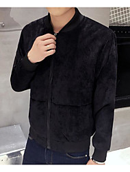 Men's Daily Modern/Comtemporary Fall Jacket,Solid Round Neck Long Sleeve Regular Others