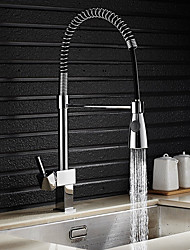 Contemporary Tall/High Arc Pull-out/Pull-down Standard Spout Vessel Widespread with  Ceramic Valve Single Handle One Hole for Chrome Kitchen Faucet