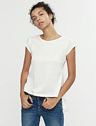 Damen Solide Einfach Lässig/Alltäglich Bluse,Rundhalsausschnitt Sommer Ärmellos Weiß / Schwarz / Gelb Dünn