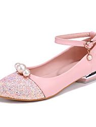 Women's Flats Comfort Light Soles Leatherette Summer Fall Casual Dress Comfort Light Soles Pearl Buckle Flat Heel Blushing Pink Blue White
