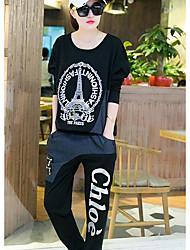 Sweat à capuche Pantalon Costumes Femme,Imprimé Sortie Décontracté / Quotidien Sportif Vintage Mignon Street Chic Printemps Automne