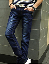 Men's Low Rise Micro-elastic Jeans Pants,Boho Straight Solid