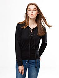 T-shirt Da donna Casual Romantico Autunno Inverno,Tinta unita Rotonda Cotone Manica lunga Medio spessore