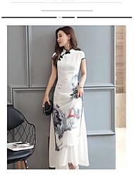 Feminino Solto Vestido,Casual Temática Asiática Árvores/Folhas Colarinho Chinês Longo Manga Curta Raiom Verão Cintura Média Micro-Elástica