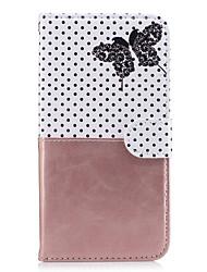 Per mela iphone 7 plus 7 portafoglio portacarta copertura caso con supporto modello flip modello completo corpo farfalla pelle dura pu per
