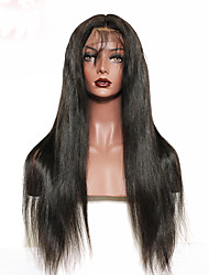 Premier®Yaki Straight Lace Front Human Hair Wigs-Glueless 130% Density 100% Unprocessed Brazilian Virgin Remy Full Lace Wigs with Baby Hair For Woman