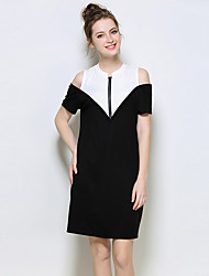 YIYEXINXIANGWomen Party Casual/Daily Sexy Sheath DressColor Block Round Neck Above Knee Short Sleeve Cotton Spandex Chinlon Summer Mid Rise Stretchy