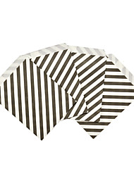 .5*7 inch 25pcs Chevron Popcorn Candy Paper Treat Favor Bag Goodie Gift Bags Wedding Party Decoration Party Supplies black