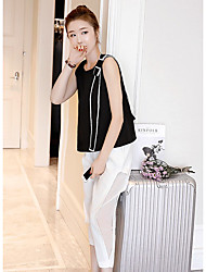 Women's Dailywear Magnetic Cat Eye Summer T-shirt Pant Suits,Solid Round Neck Sleeveless