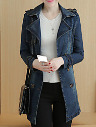 Women's Going out Simple Fall Denim Jacket,Solid Stand Long Sleeve Regular Others