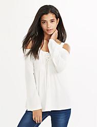 Damen Solide Sexy / Einfach Lässig/Alltäglich T-shirt,Rundhalsausschnitt Sommer Langarm Blau / Rot / Weiß / Schwarz / Lila Polyester