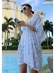 Women's Casual/Daily Party Holiday Loose Lace Dress,Floral Deep V Above Knee Short Sleeve Polyester Spandex All Seasons High Rise Stretchy