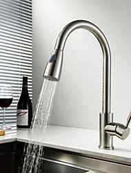 Kitchen Faucet Traditional Pullout Spray Brass Nickel Brushed