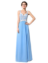 Formal Evening Dress Sheath / Column V-neck Floor-length Chiffon with Embroidery