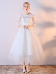 Ball Gown Wedding Dress Tea-length Scoop Lace Satin Chiffon with Embroidered Lace