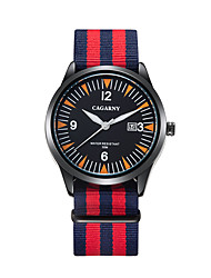 CAGARNY 6859 Unisex Casual Watch Japanese Quartz Calendar Nylon Band Stripe Casual Multi-Colored