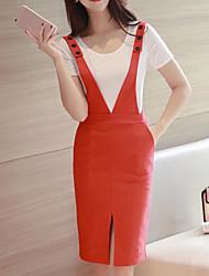 Manches Ajustées Robes Costumes Femme,Couleur Pleine Décontracté / Quotidien simple Eté Sans Manches A Bretelles Micro-élastique