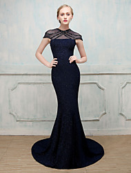Mermaid / Trumpet Illusion Neckline Sweep / Brush Train Cotton Nylon Formal Evening Dress with Crystal by MMHY