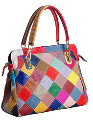 Women Tote Cowhide All Seasons Casual Shell Zipper Rainbow