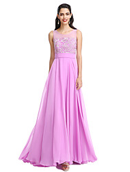 A-Line Jewel Neck Floor Length Chiffon Bridesmaid Dress with Bow(s) Sash / Ribbon by LAN TING BRIDE®
