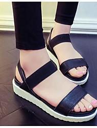 Women's Sandals Gladiator Comfort PU Spring Casual Black White Flat