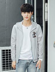 Men's Daily Modern/Comtemporary Cross-Seasons Summer Jacket,Solid Print Hooded Long Sleeve Regular Polyester