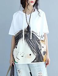 Damen Druck Einfach T-shirt,Mit Kapuze Sommer Kurzarm Baumwolle