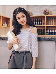Tee-shirt Femme,Rayé Quotidien simple Manches Courtes Une Epaule Coton