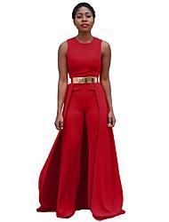 Для женщин Винтаж На каждый день Комбинезоны,С высокой талией Прямой силуэт Чистый цвет Мода Однотонные Весна Лето