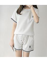 Mujer Chic de Calle Verano T-Shirt Pantalón Trajes,Escote Redondo Sin Mangas
