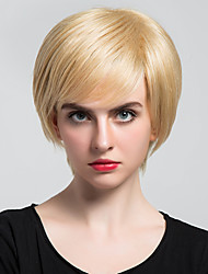 Oblique Fringe  Short  Straight Human Hair Wigs For  Women