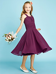 A-Line Straps Knee Length Chiffon Junior Bridesmaid Dress with Draping Sash / Ribbon Ruching by LAN TING BRIDE®