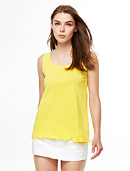Women's Sports Casual/Daily Simple Summer Tank Top,Solid Round Neck Sleeveless Cotton Thin