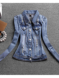 Women's Casual/Daily Simple Spring Fall Denim Jacket,Solid Shirt Collar Long Sleeve Regular Linen
