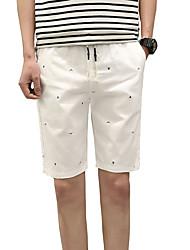 Masculino Activo Fofo Simples Moda de Rua Cintura Baixa Micro-Elástica Chinos Shorts Calças,Delgado Sólido Poá Listrado,Côr Pura Conferir