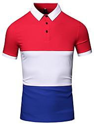 Herren Einfarbig Einfach Lässig/Alltäglich Arbeit T-shirt,Stehkragen Sommer Kurzarm Baumwolle Dünn