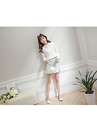 Damen Solide Einfach Strand T-shirt,Rundhalsausschnitt Langarm Baumwolle