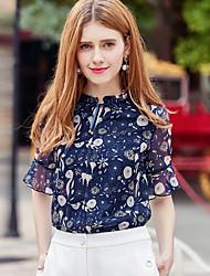 Для женщин Блуза V-образный вырез,Простое С принтом С короткими рукавами,Полиэстер