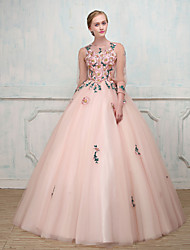 Formal Evening Dress - See Through Sexy Elegant Ball Gown Jewel Floor-length Tulle with Beading Embroidery Lace