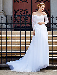 2017 A-line Wedding Dress - Chic & Modern Sparkle & Shine Open Back Court Train Off-the-shoulder Tulle with Appliques Button Sequin