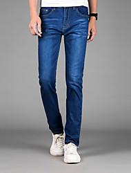 Homme simple Taille Normale Micro-élastique Skinny Jeans Pantalon,Droite Mince Couleur Pleine