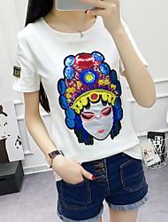 Damen Muster Einfach Normal T-shirt,Rundhalsausschnitt Sommer Kurzarm Baumwolle