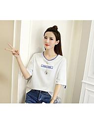 Damen Buchstabe Einfach T-shirt,Rundhalsausschnitt ½ Länge Ärmel Baumwolle