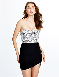 Women's Lace|Backless Casual/Daily Club Sexy Bodycon Dress,Solid Strapless Mini Sleeveless White Black Cotton Summer Mid Rise Micro-elastic Medium
